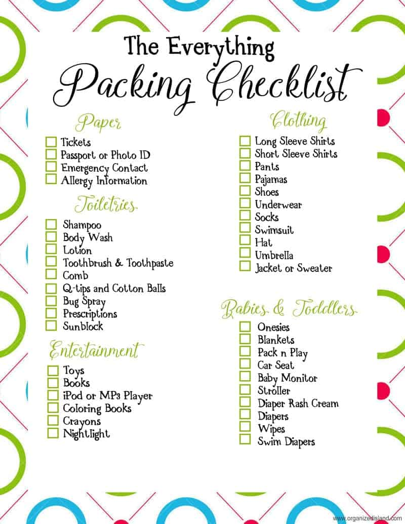 picture regarding Printable Beach Packing List known as Push Packing Checklist Printables -