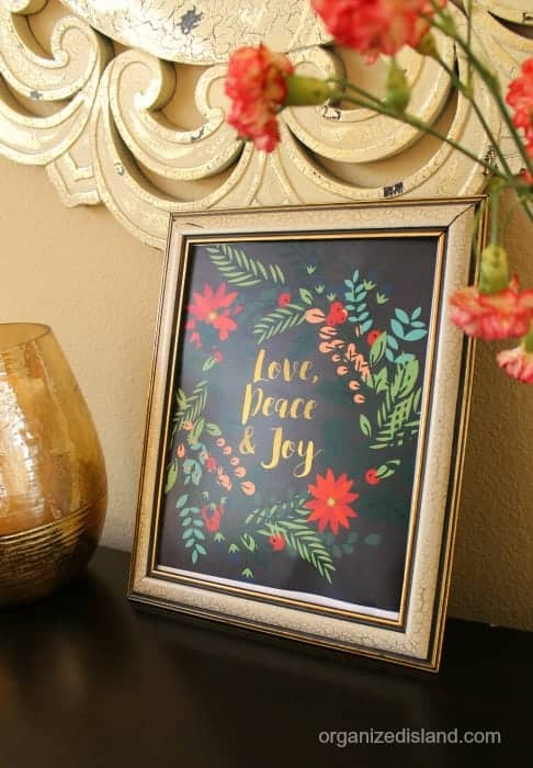 This beautiful Love peace and joy printable is free at Organized Island.