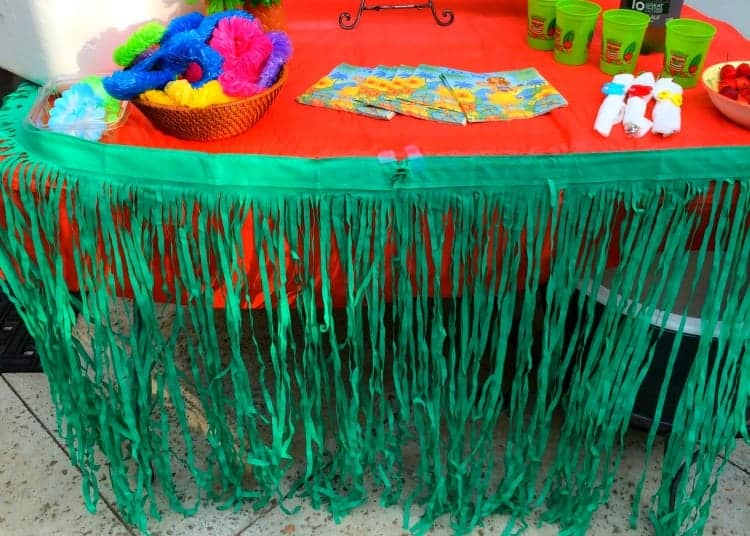 Luau-table-grass-skirt