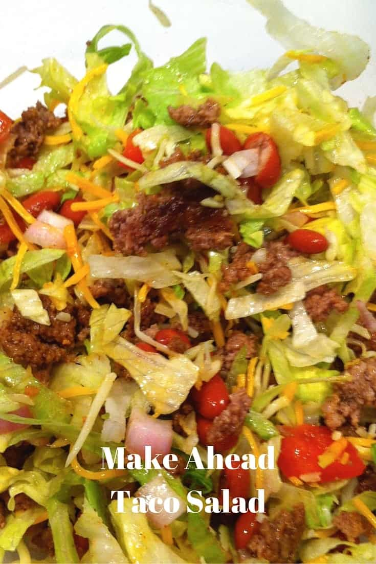 This make ahead taco salad is all the goodness of a taco in a salad and perfect for taking on the go or preparing ahead.