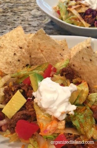 Make ahead taco salad recipe. So easy and makes a great meal!