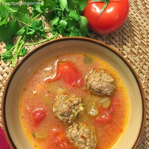This easy meatball soup is delicious and warming with a bit of chili! Also known as Albondigas, it makes a wonderful meal with warn tortillas!