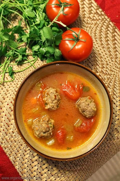 This easy meatball soup is delicious and warming with a bit of chili! Also known as Albondigas - makes a warming meal!
