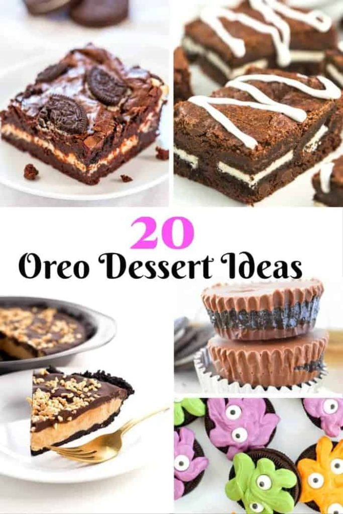 Twenty oreo dessert ideas for a party, tea time or family dessert.