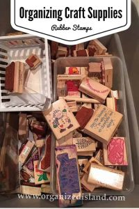 I have a lot of rubber stamps, but not a lot of room. See how I organized these in a small space!