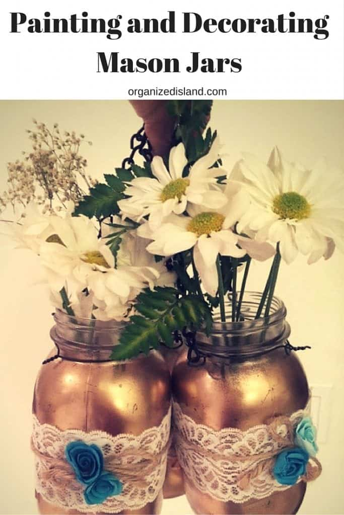 Easy Tutorial to show you how to paint mason jars. These looks so pretty when painted and decorated. Great for wedding, shower or party decor.