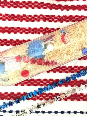 Easy 4th of July Decorations with Sensory Bottles