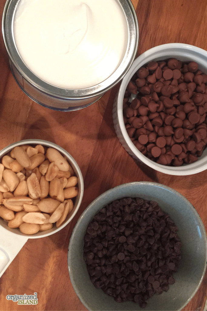 These are the only ingredients needed for my easy peanut clusters recipe. They are ready in no time and are perfect for game night or for a gift.