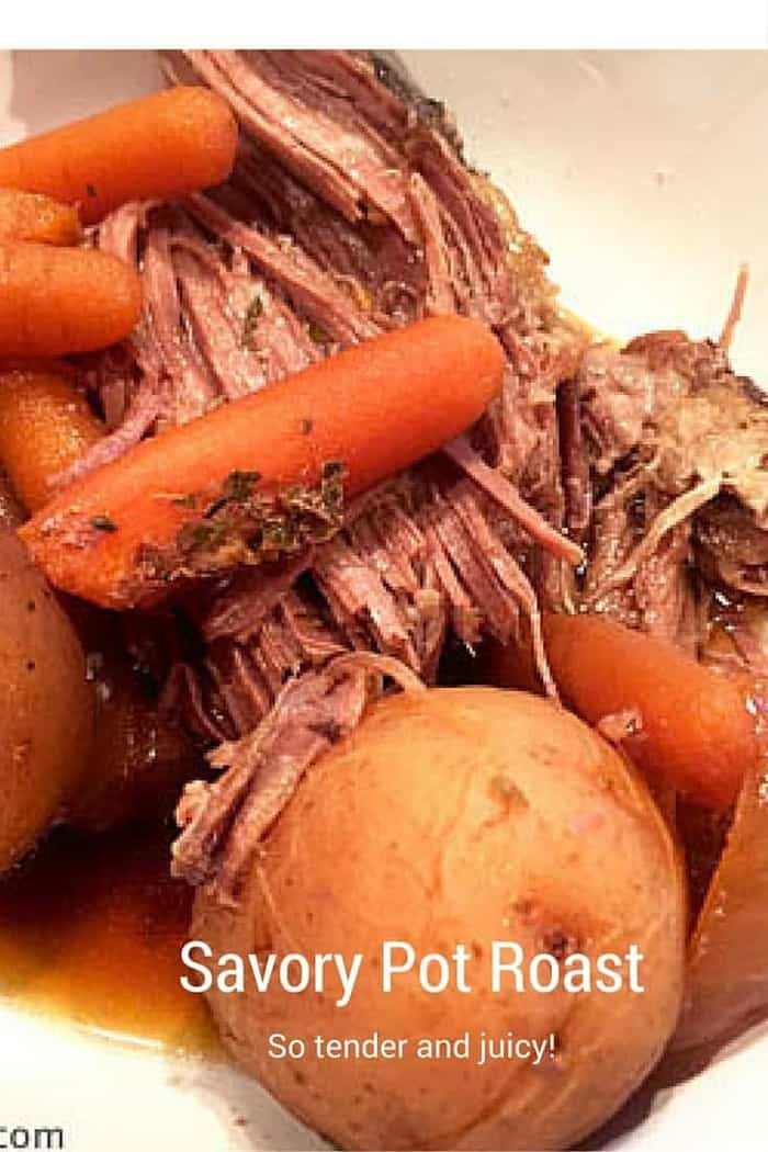 Savory Slow Cooker Pot Roast - So juicy and tender and practically cooks itself!