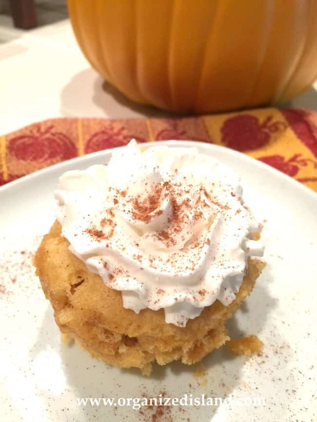 Tasty Recipe for a Pumpkin Mug Cake that can be made in your microwave in minutes!