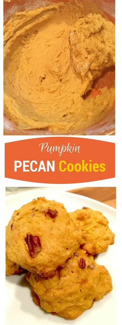 Soft Pumpkin cookies with cinnamon and pecans. Like the flavors of fall in a cookie!