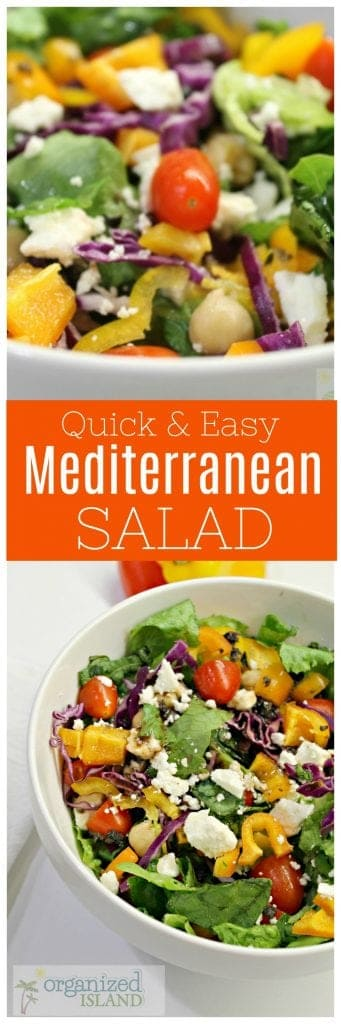 Quick and easy Mediterranean salad that is great as a side dish or a meal!