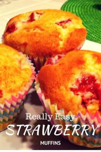 Really simple recipe for Strawberry muffins and they are beautiful and juicy!