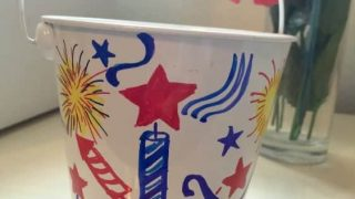 All you need are some dollar bin buckets and some Sharpie markers to make some fun inexpensive home decor!