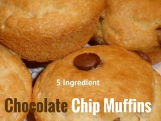 This recipe for Chocolate Chip Muffins is perfect for breakfast or a snack with only 5 ingredients!