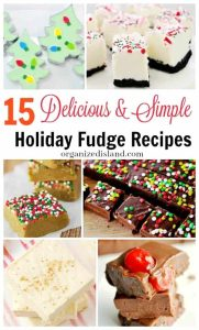 15 delicious and simple holiday fudge recipes. Great for holiday parties or as gifts!