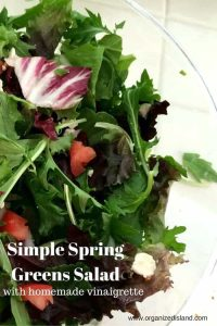 This simple spring greens salad is not only easy - it is really good for you! Pair it up with a home made dressing for a fresh and flavorful salad!