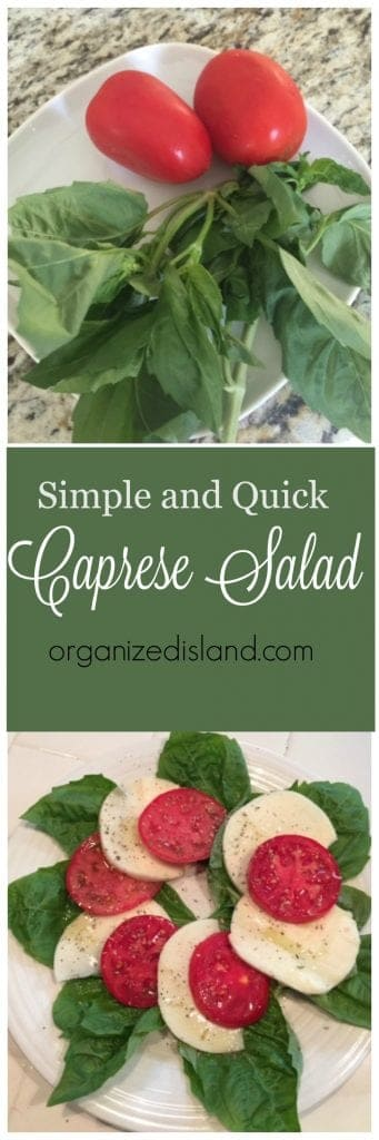 The simplest salad you will ever make. This easy carprese salad combines fresh basil leaves, mozzarella and tomatoes. This salad looks beautiful too!