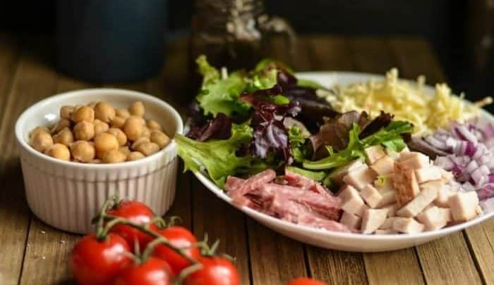 Chopped Salad Recipe that can be made with ham, bacon or meatless.