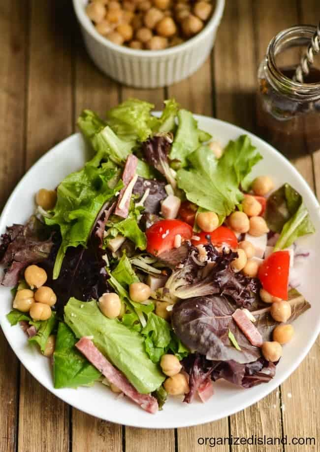 Chopped Salad Recipe that can be made with ham, bacon or meatless