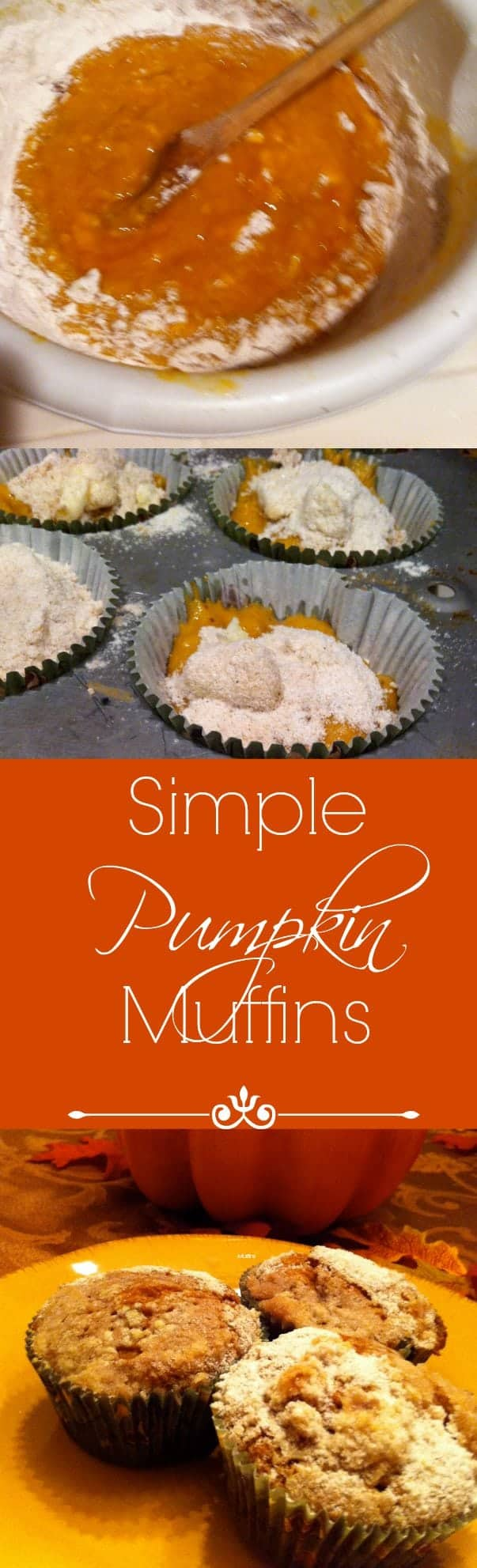 A Simple pumpkin muffin recipe that comes together in about 30 minutes for a breakfast bread or snack.