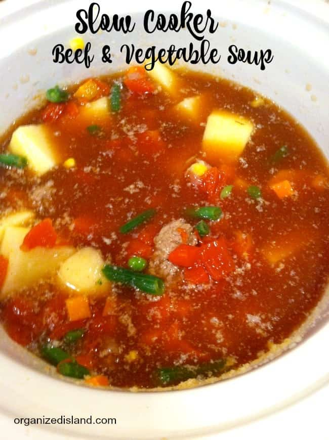 This Slow Cooker beef and vegetable soup is so good and practically makes itself!
