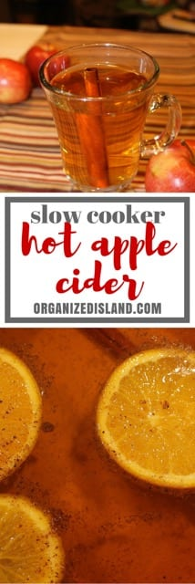 This slow cooker hot apple cider is perfect to warm up with on a cold day or night. Makes the kitchen smell wonderful too!