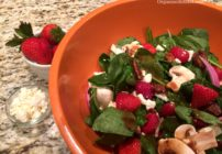 A nice light salad, this Spinach Strawberry Feta Salad is a perfect blend of greens, strawberries, mushrooms and pecans!