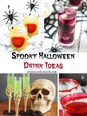 A round up of spooky Halloween drink ideas (alcoholic and non-alcoholic) dink ideas for your Halloween dinner or party.