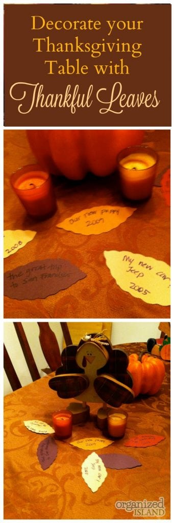 What a cute thanksgiving tradition idea. Great way to decorate a Thanksgiving table for cheap!