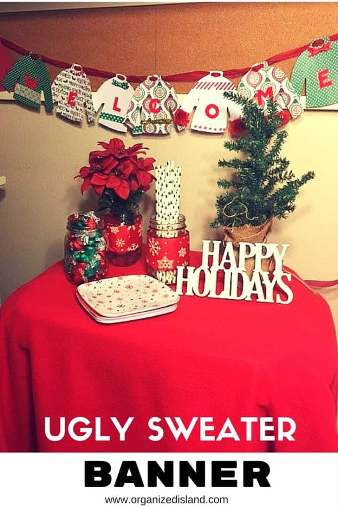 Cute ugly sweater banner made of patterned paper!