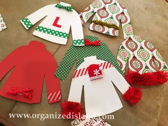 Make a cute ugly sweater party banner with pattened paper!