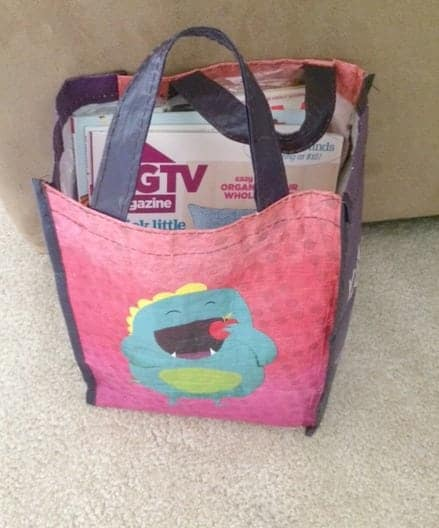 Use recyclable bags for magazine storage
