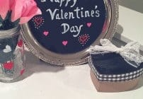 This chalkboard Valentine's decor is made with items from the dollar store! So easy to make in minutes!
