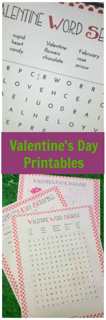 Valentine's Day Printable activity sheets.