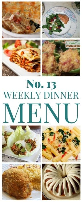 Easy meal plan ideas for a week! A new free menu each week filled with simple recipes!
