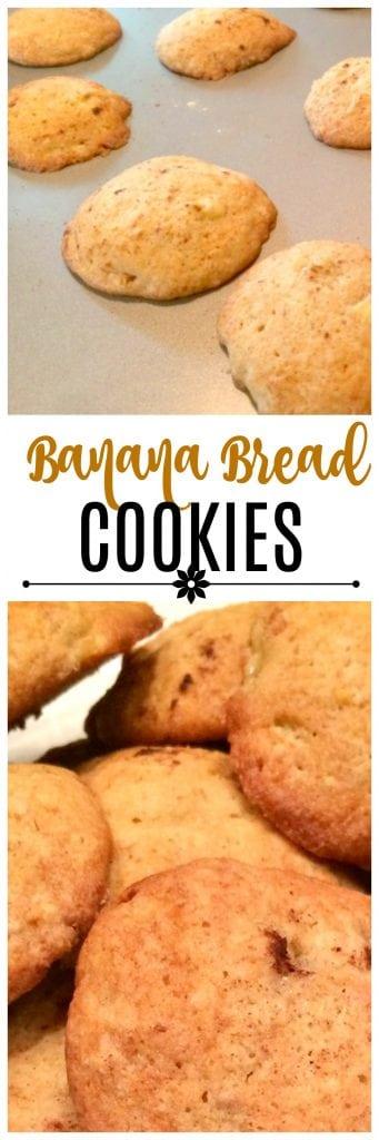 Easy banana bread cookie recipe - soft cookies that are like mini-sized banana bread!