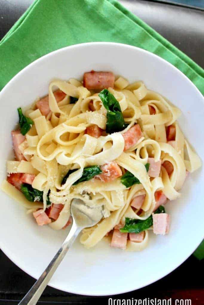 Ham Spinach Pasta recipe