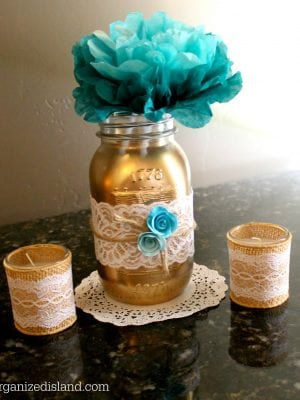 These painted mason jars made for pretty centerpieces for the shower and wedding!