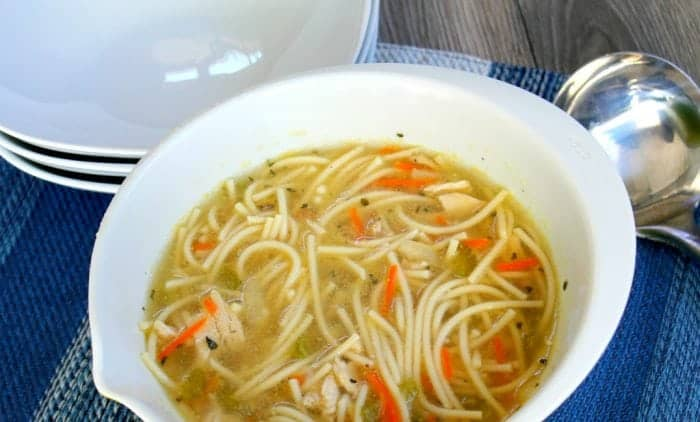Easy Chicken Soup with Spaghetti Recipe - a great way to save money!