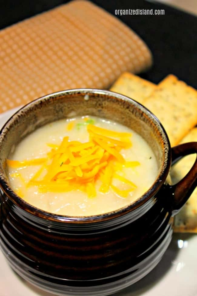 steamy potato cheese soup in bowl