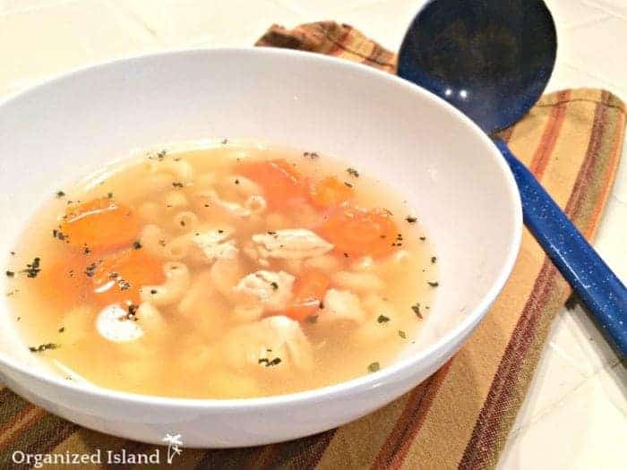 Easy chicken soup with rotisserie chicken.