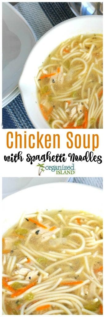 Easy chicken soup with spaghetti noodles recipe. A great way to use what you have on hand to make a comforting Chicken soup.