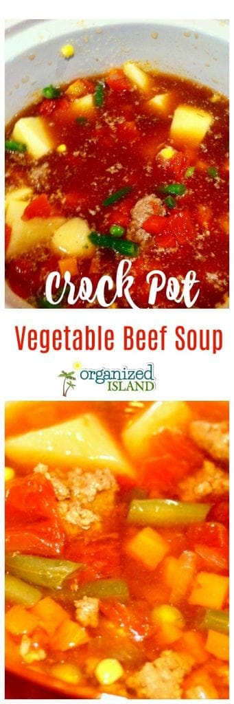 Easy Slow Cooker Beef Vegetable soup - just a few ingredients for an easy weeknight dinner.