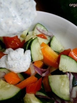 Quick and easy Cucumber Tomato Salad with creamy dill dressing recipe