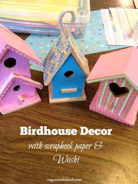 Summer Craft Idea Decorate Wooden Bird Houses With Sbook Paper And Washi