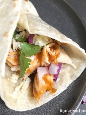 Barbecue chicken tortila wrap