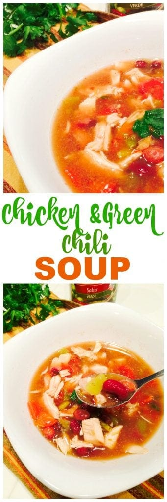 Easy Chicken Green Chili soup recipe! So good and so easy with just a little spice!