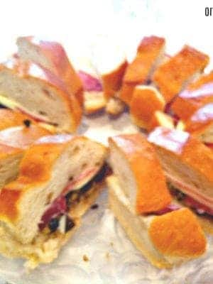 Easy Muffaletta sandwich recipe for Mardi Gras parties!