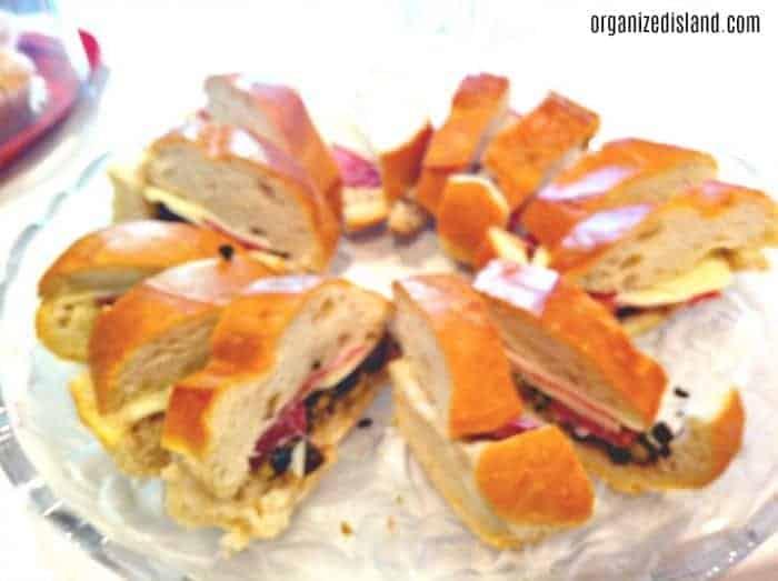 Easy Muffaletta sandwich recipe for Mardi Gras parties!